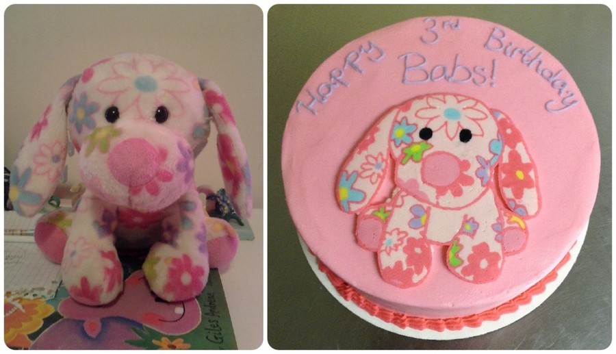 Buttercream Transfer Cake Beside The Picture Of The Birthday Girls Favorite Stuffed Animal on Cake Central