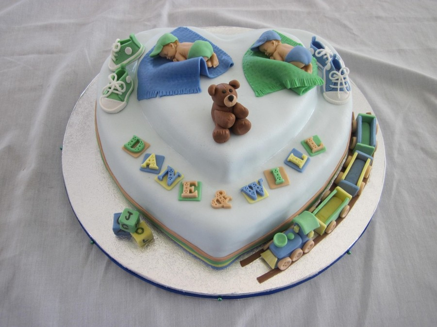 A Baby Shower Cake For A Girl Who Recently Had Twin Boys Lemon