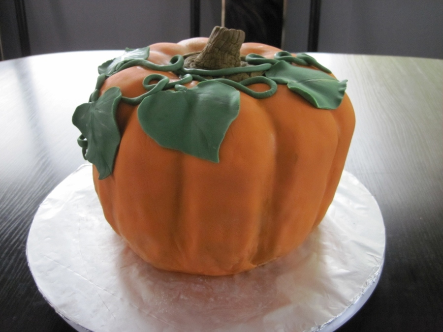 This Was Going To Be A Halloween Pumpkin But I Thought Id Stop While I Was Ahead So Its A Fall Pumpkin 4 Layer Pumpkin Spice Cake Ca on Cake Central