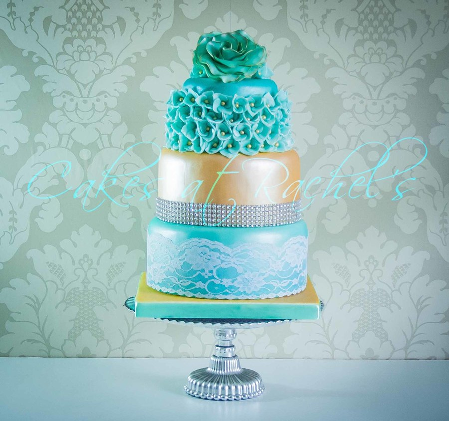 teal wedding cakes pictures gold amp teal wedding cake cakecentral 20788
