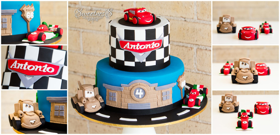 A Pocket Full Of Sweetness I Absolutely Loved Making This Cars Themed Cake For Antonios 4Th Birthday All Characters Were Handmade And Edi on Cake Central