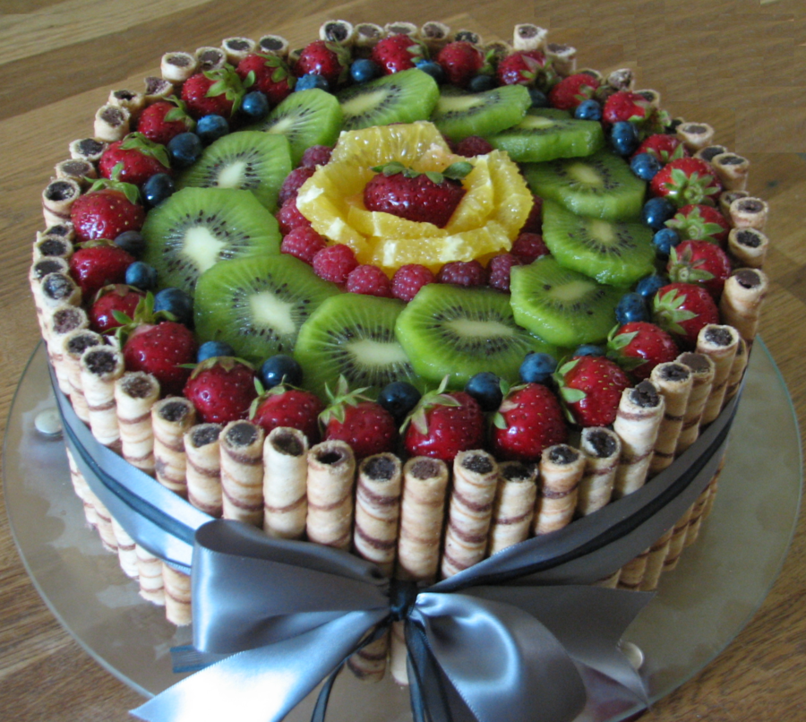 Miraculous Very Simple Fresh Fruit Cake Ive Made For My Fathers Birthday Funny Birthday Cards Online Overcheapnameinfo