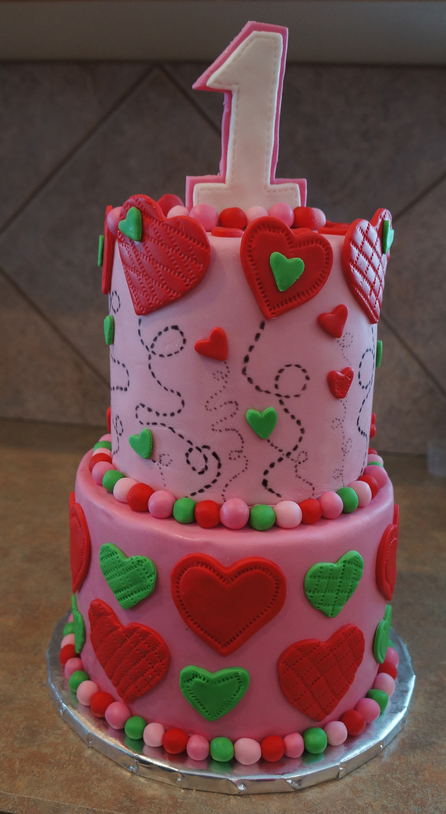 Heart Themed First Birthday Cake on Cake Central