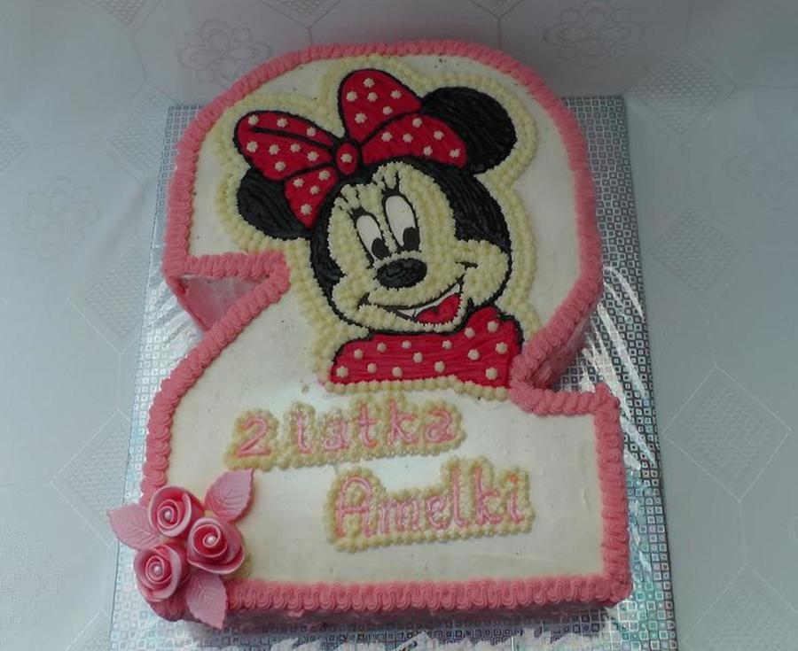 Chocolate Amp Vanilla Cake With Minnie Mouse Shaped Into 2 2 Layers