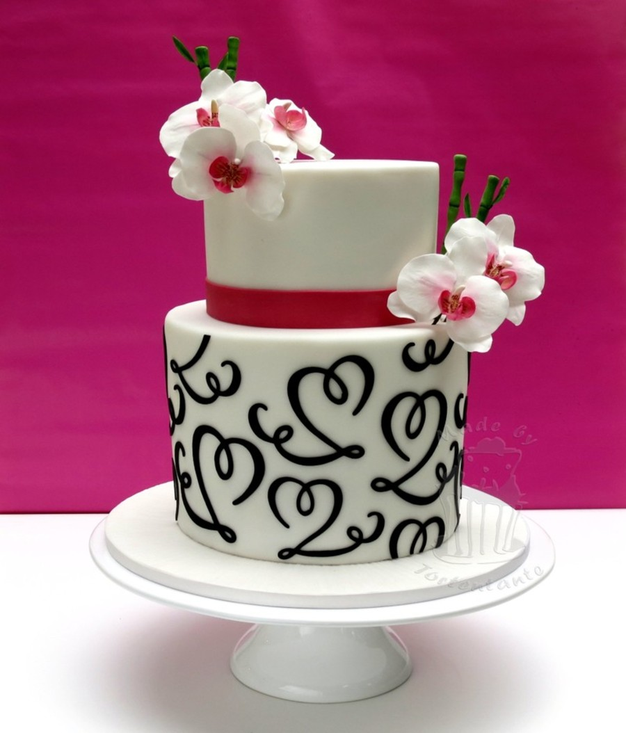 Phalaenopsis Orchids With Swirls on Cake Central