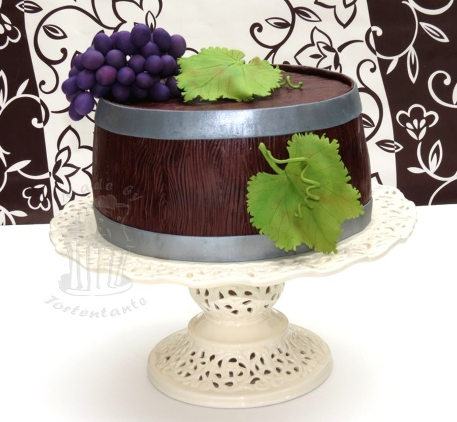 Wine Barrel Cake With Grapes  on Cake Central