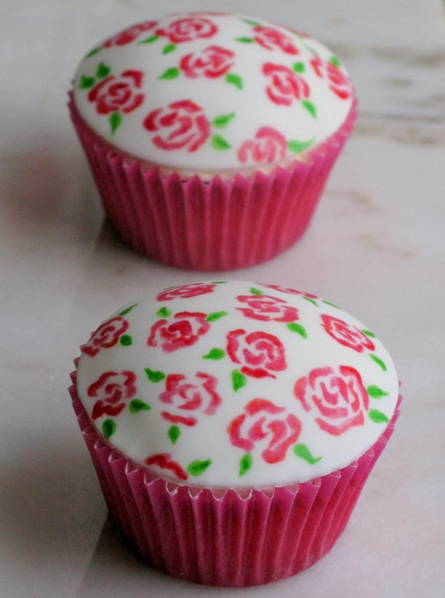 Raspberry Vanilla And Lemon Cupcakes With Hand Painted Roses on Cake Central
