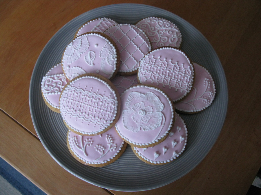 Some Pink And White Royal Icing Cookies on Cake Central