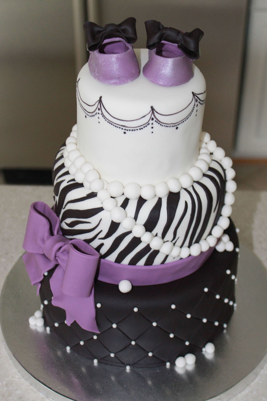 Zebra Purple Black And White Glamour Baby Shower Cakeone Of My Favorites