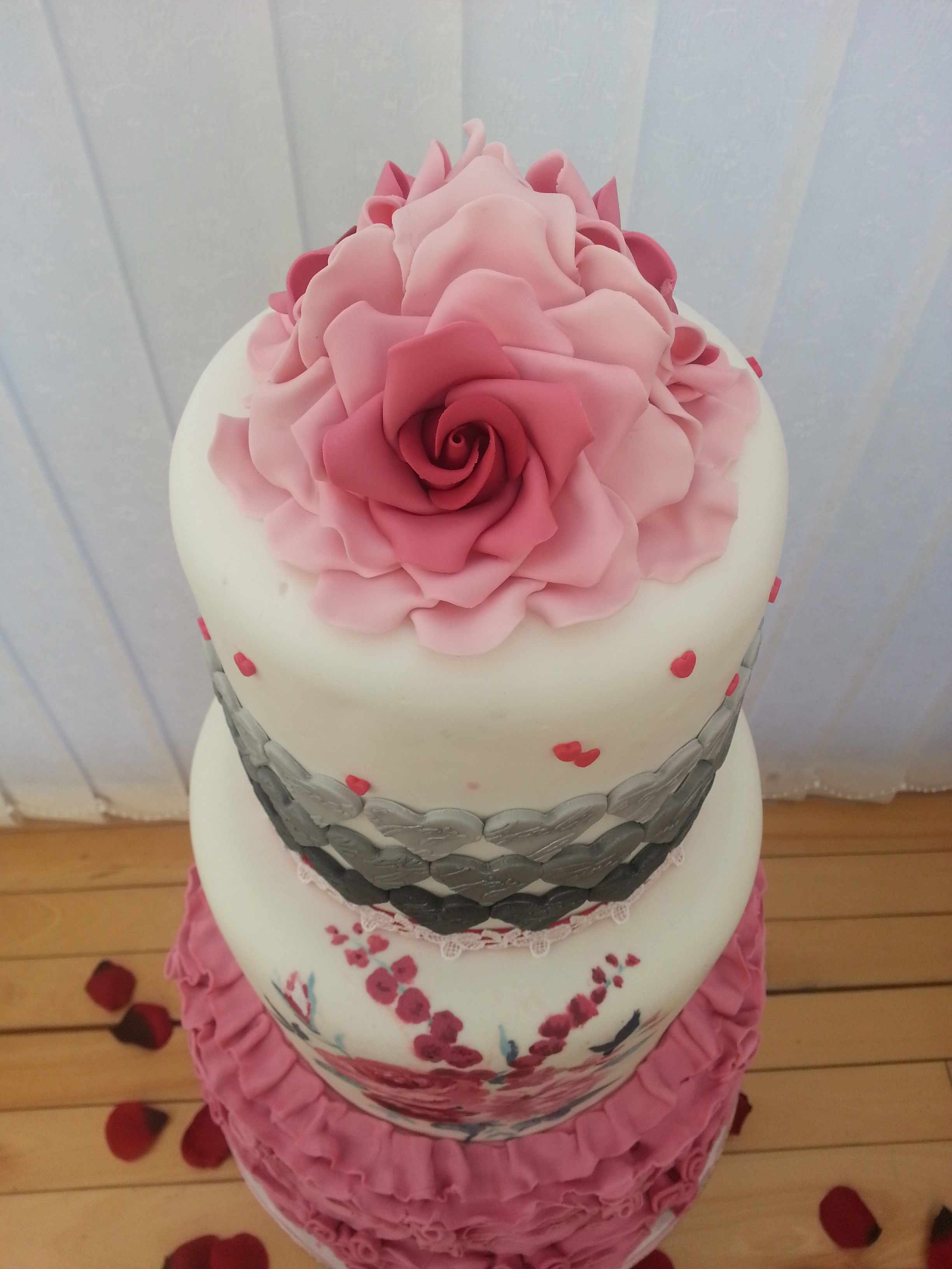 pink and grey wedding cakes pink and grey wedding cake cakecentral 18548