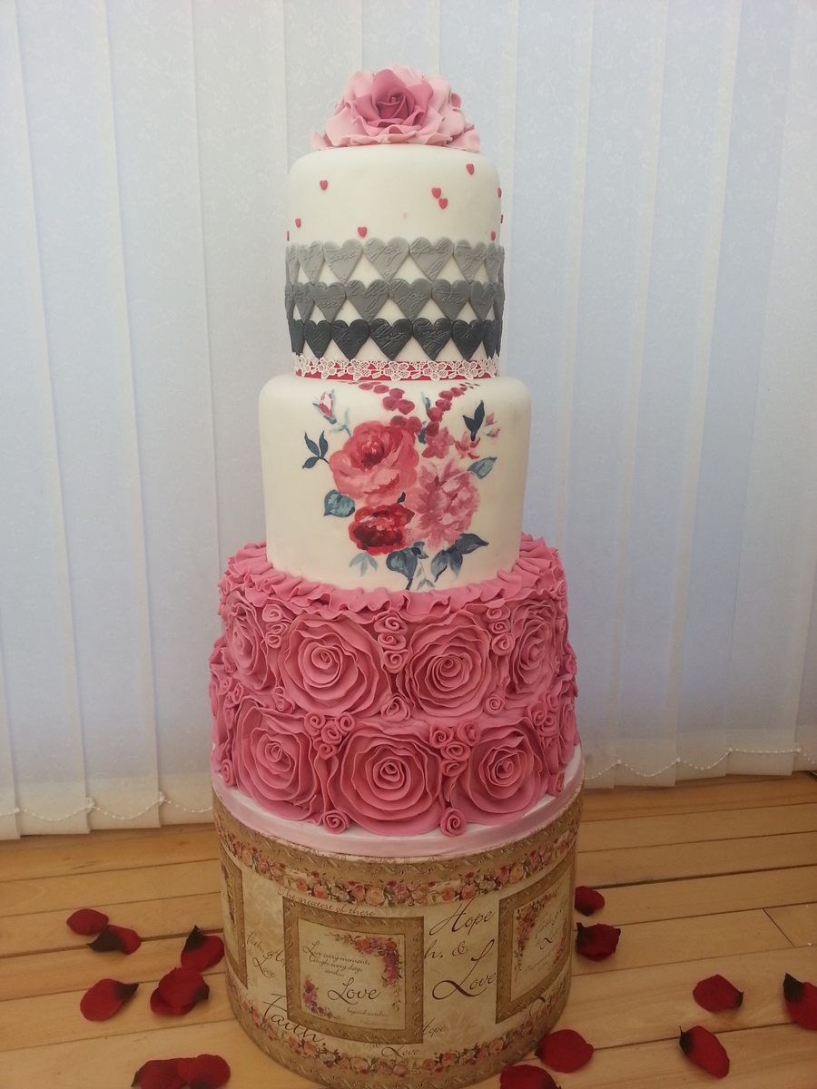 pink gray wedding cakes pink and grey wedding cake cakecentral 18578