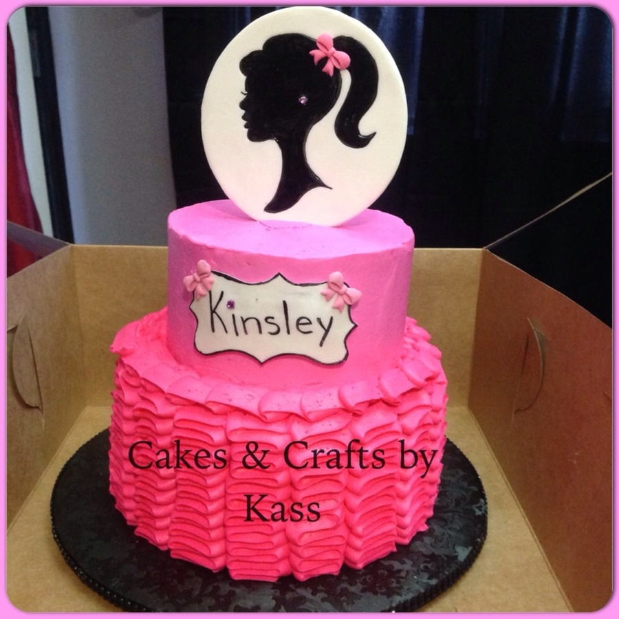 Pink Ruffle Cake With Fondant Topper Topper Silhouette
