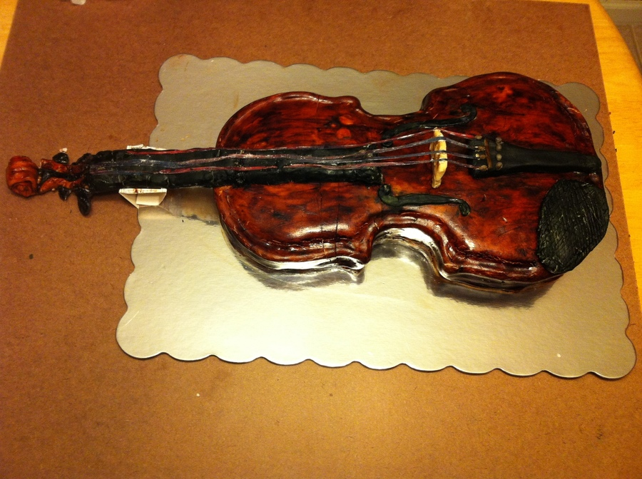 This Is A Viola Cake I Made When I Was 14 It Is The Size Of A 15 Inch Viola And Took Six Hours To Make on Cake Central