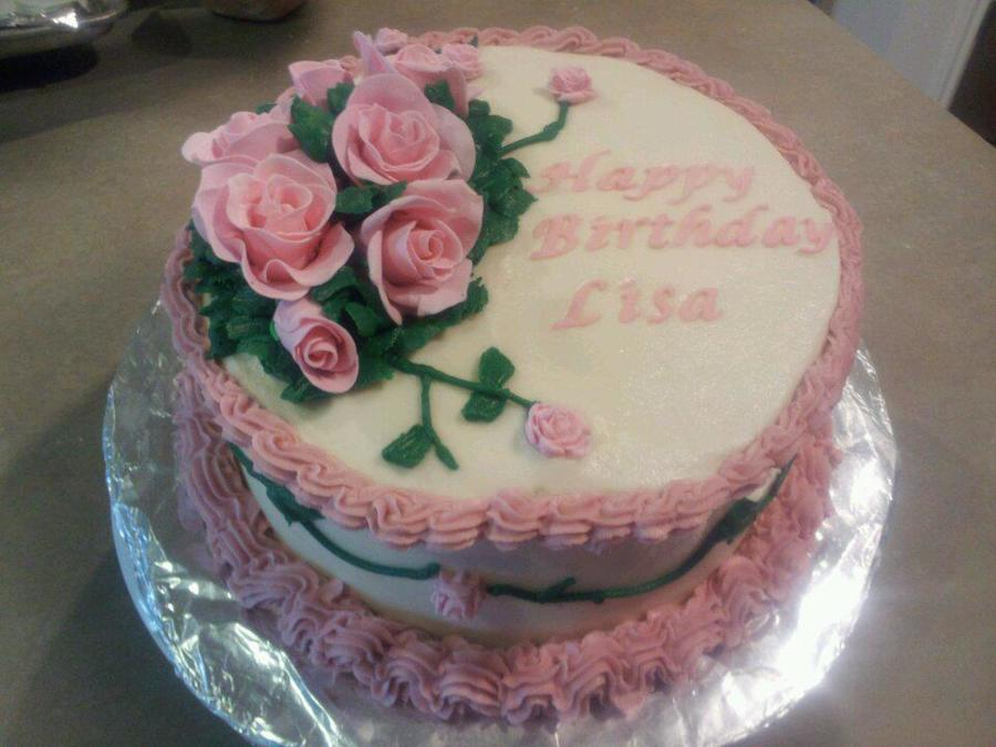 Outstanding Gumpaste Rose Birthday Cake Cakecentral Com Funny Birthday Cards Online Alyptdamsfinfo