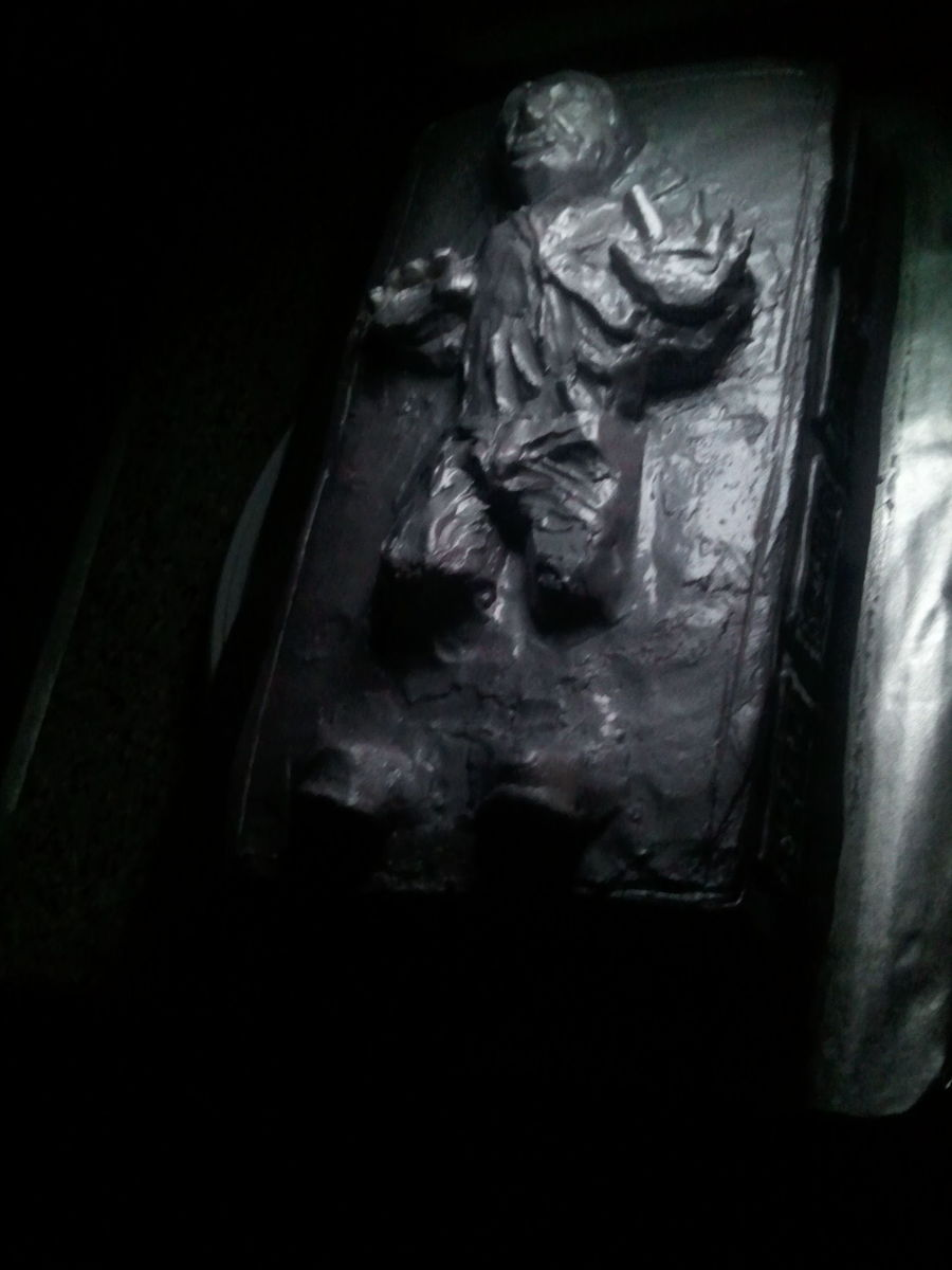 This One Is A Chocolate Amaretto Cake With Buttercreme Icing And Silver Pearlairbrush Done As Han Solo Frozen In Carbonite From Star Wars P... on Cake Central
