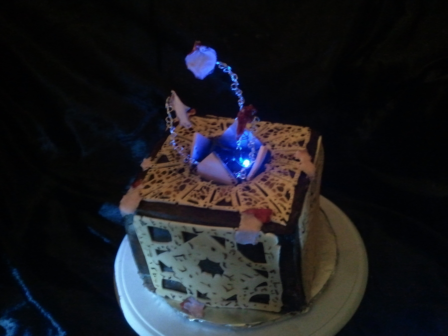 This Cake Is Lemon Velvet With Buttercreme Icing And Fondant Detailing Done In The Theme Of The Opened Hellraiser Puzzle Box I Used A Wood... on Cake Central