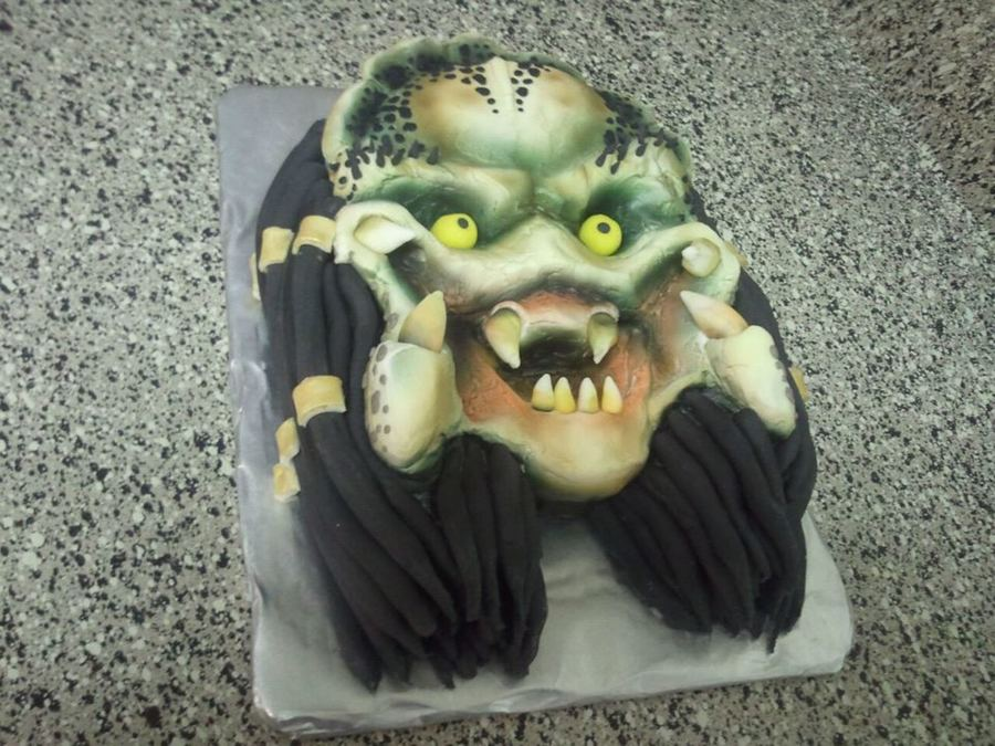 This Was A Triple Chocolate Velvet Cake With Buttercreme Icing And Fondant Accents For My Friend Who Absolutely Loves Predator on Cake Central
