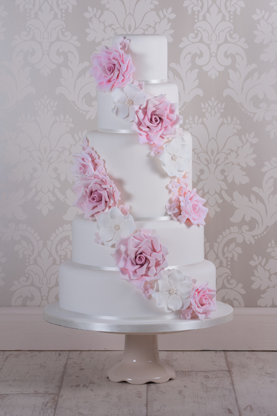Cascading Rose Wedding Cake - CakeCentral.com