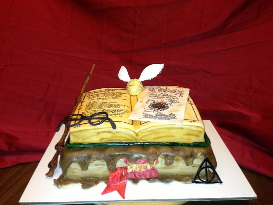 3D Fondant Harry Potter Cake Includes Monster Book Elder Wand Harrys Glasses Golden Snitch Handpainted Marauders Map And Polyjuice P on Cake Central