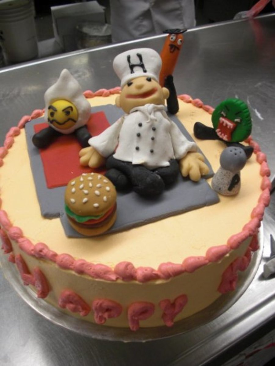 One Of My First Cakes That I Made At School P Inspired By Burgertime For Nes Cake Review on Cake Central