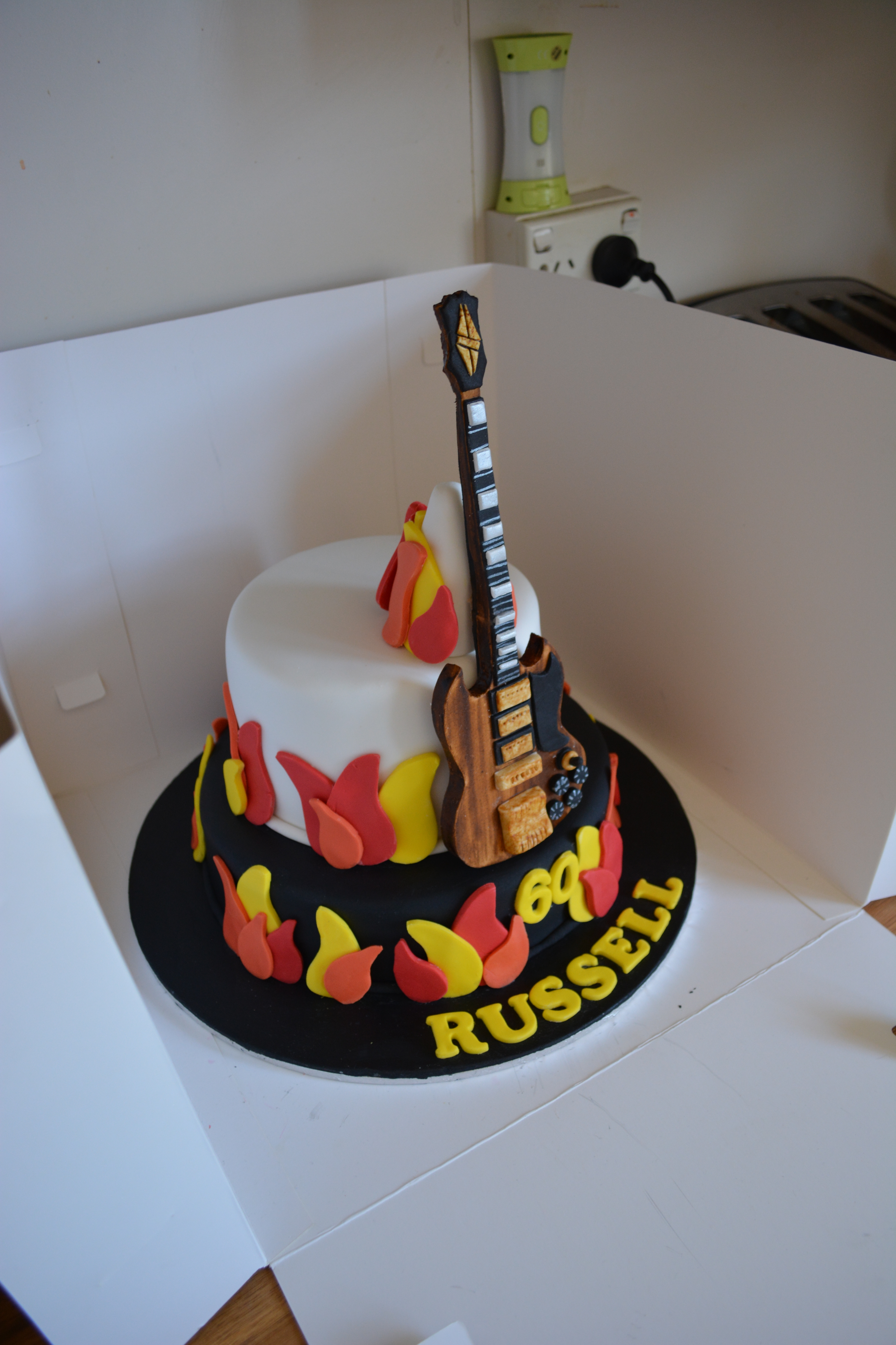 Rock N Roll Themed Flames Guitar Cake Cakecentral