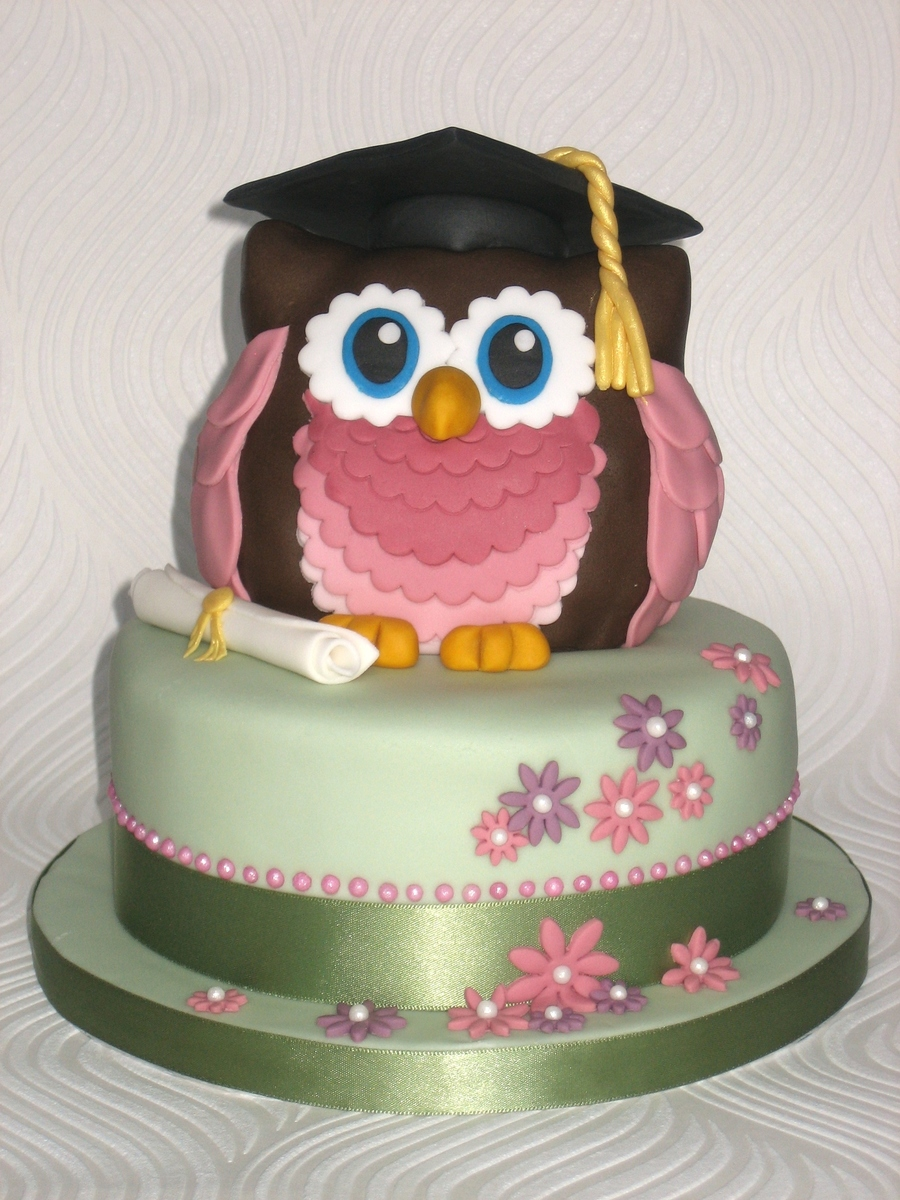 Owl Graduation Cake  on Cake Central