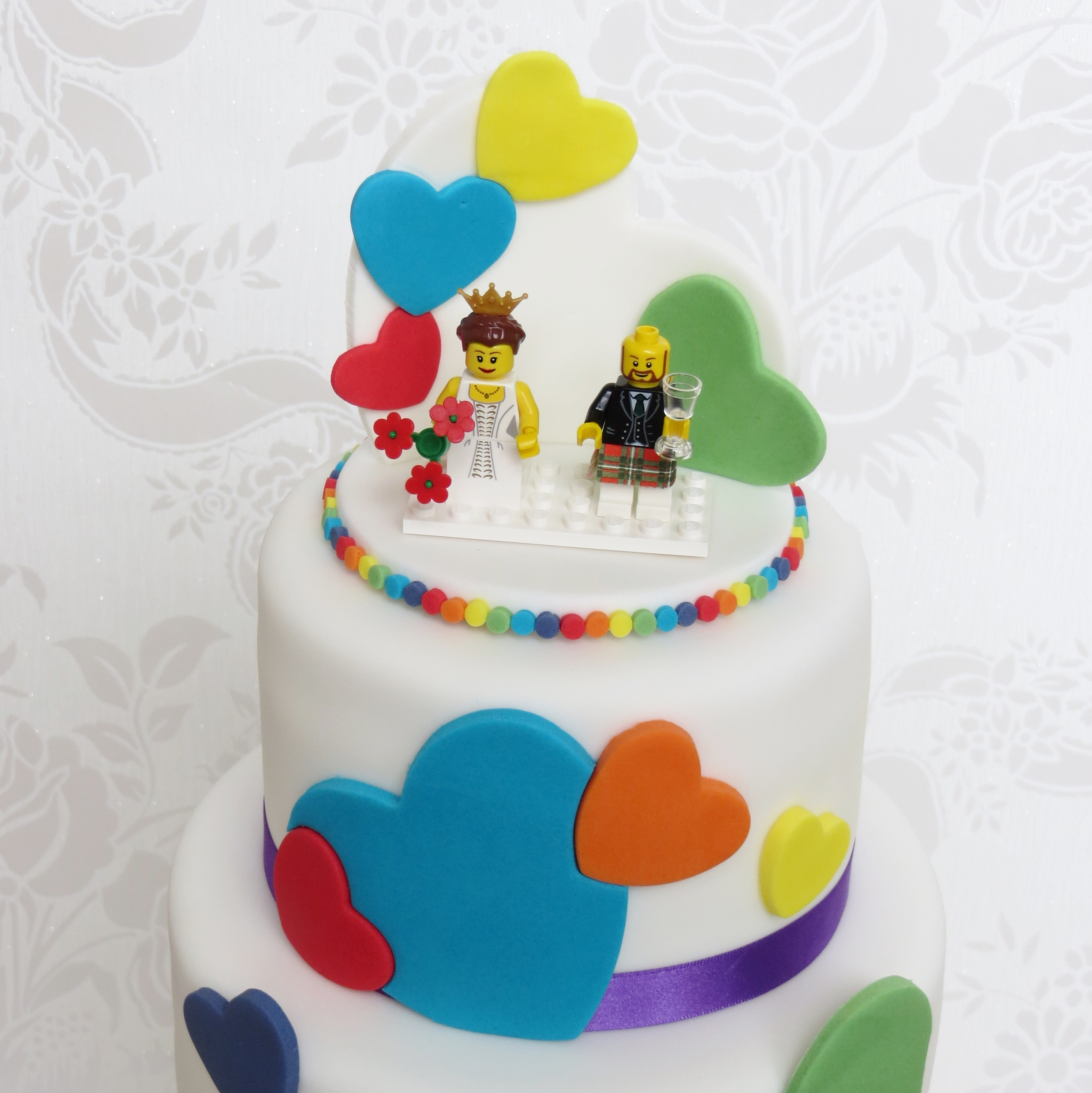 rainbow cake topper rainbow wedding cake with lego topper cakecentral 6945