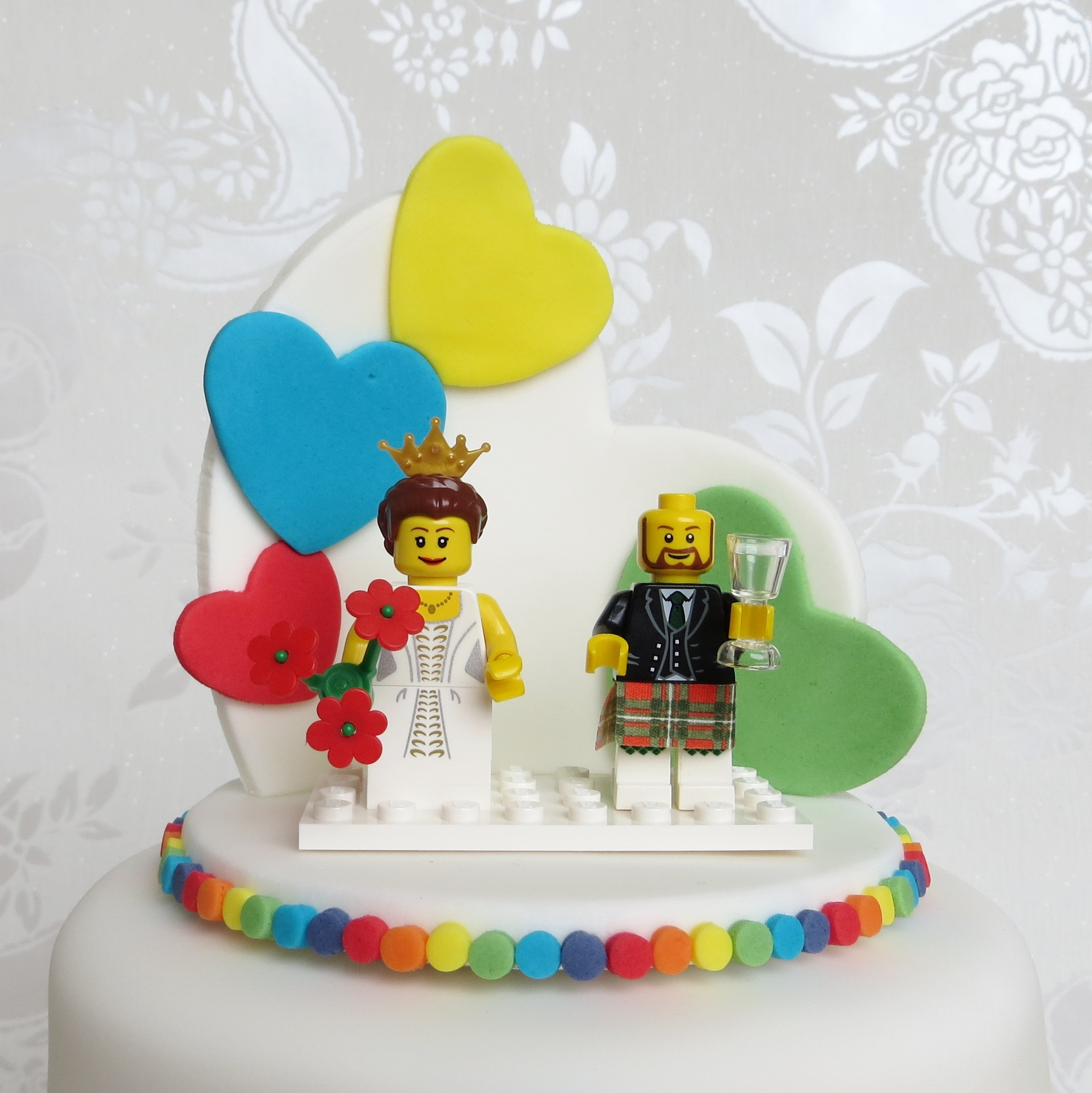 Rainbow Heart Wedding Cake With Lego Topper CakeCentral