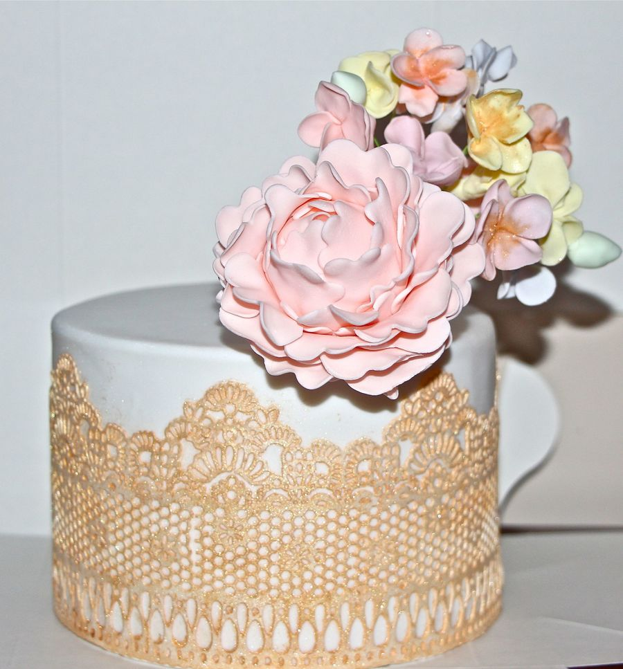 Lace, Gold And Flowers on Cake Central