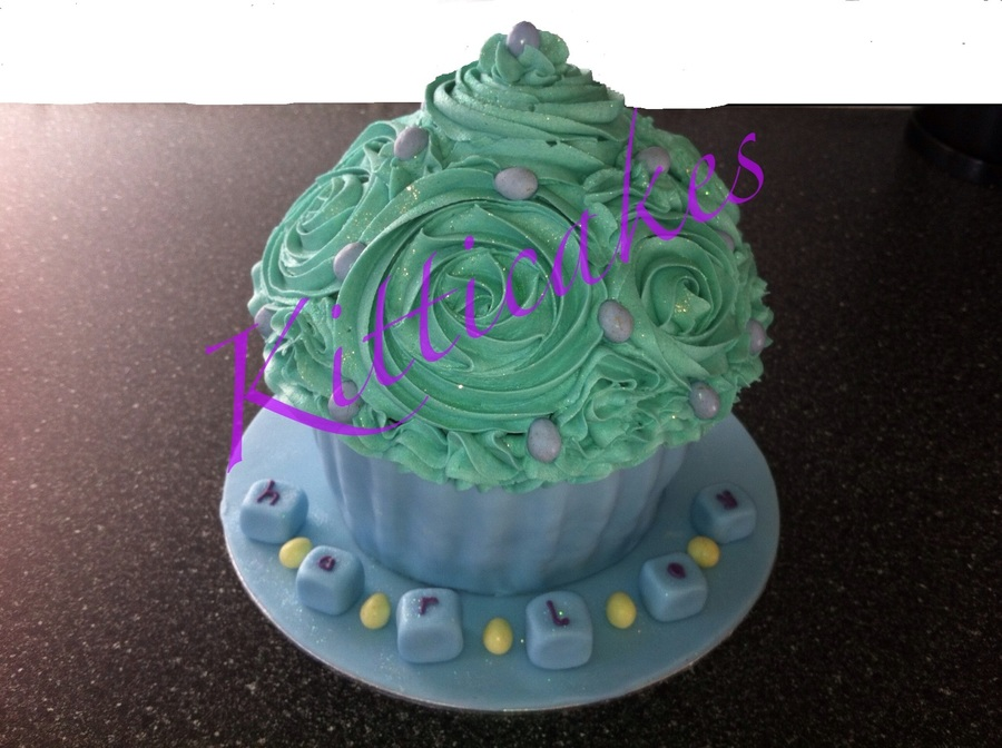 Giant Cupcake Blues/greens 1St Birthday By Kitticakes on Cake Central