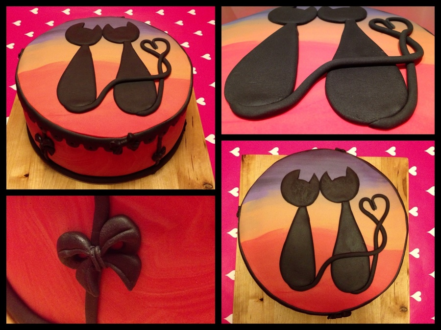 Romantic Silhouette Cats Looking At The Sunset Vanilla Sponge Double Filled With Strawberrycream And Chocolatechips on Cake Central