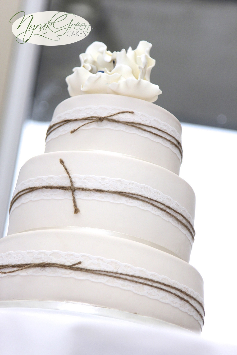 Lace & Twine 3 Tier Wedding Cake - CakeCentral.com
