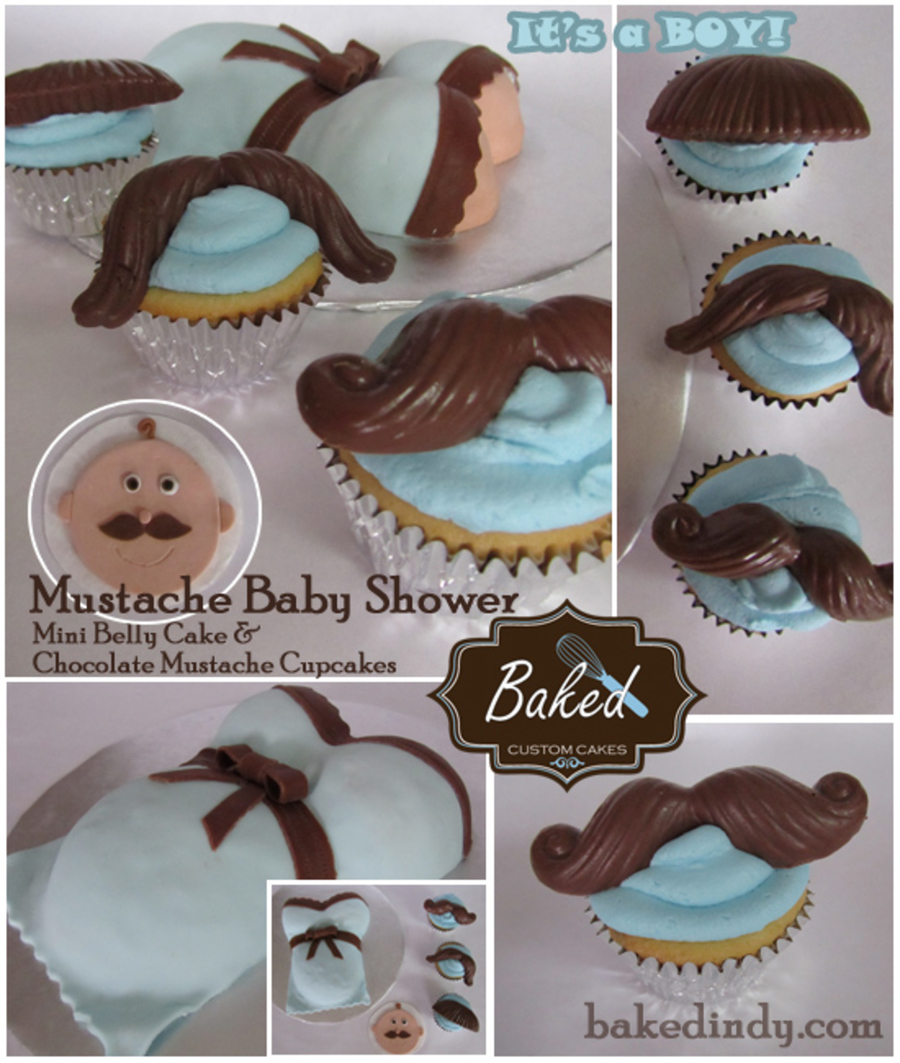 Mustache Baby Shower Mini Baby Bump Cake For Mom To Be And Chocolate Mustache Cupcakes The Cake Was Vanilla With Brown And Blue Sprinkle on Cake Central
