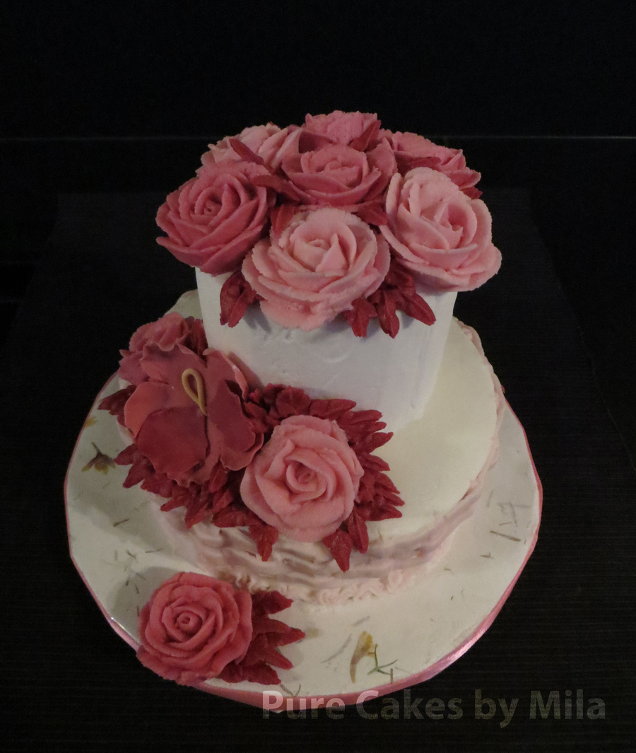 Buttercream Burgundy Roses And Pansy on Cake Central