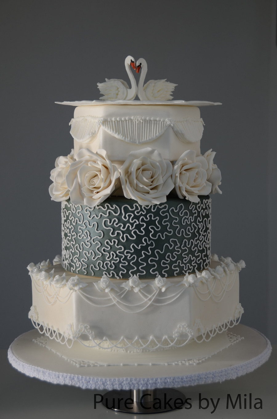 Wedding Cake With Fondant Leaves