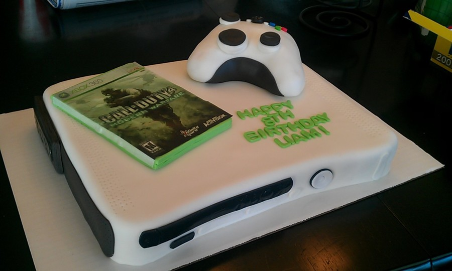 Xbox With Game And Remote on Cake Central