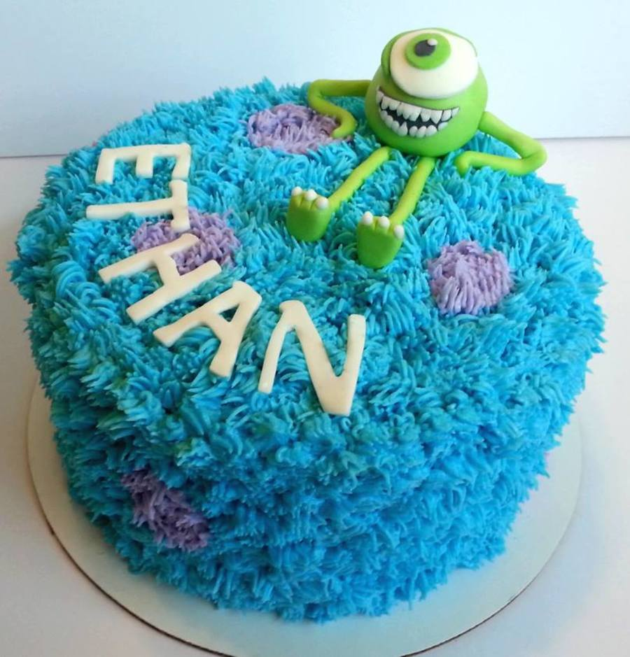 Monsters Inc Birthday Cake Sully Buttercream Fur And Fondant Mike