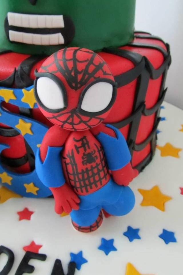 SpiderMan Hulk 5Th Birthday Cake CakeCentralcom