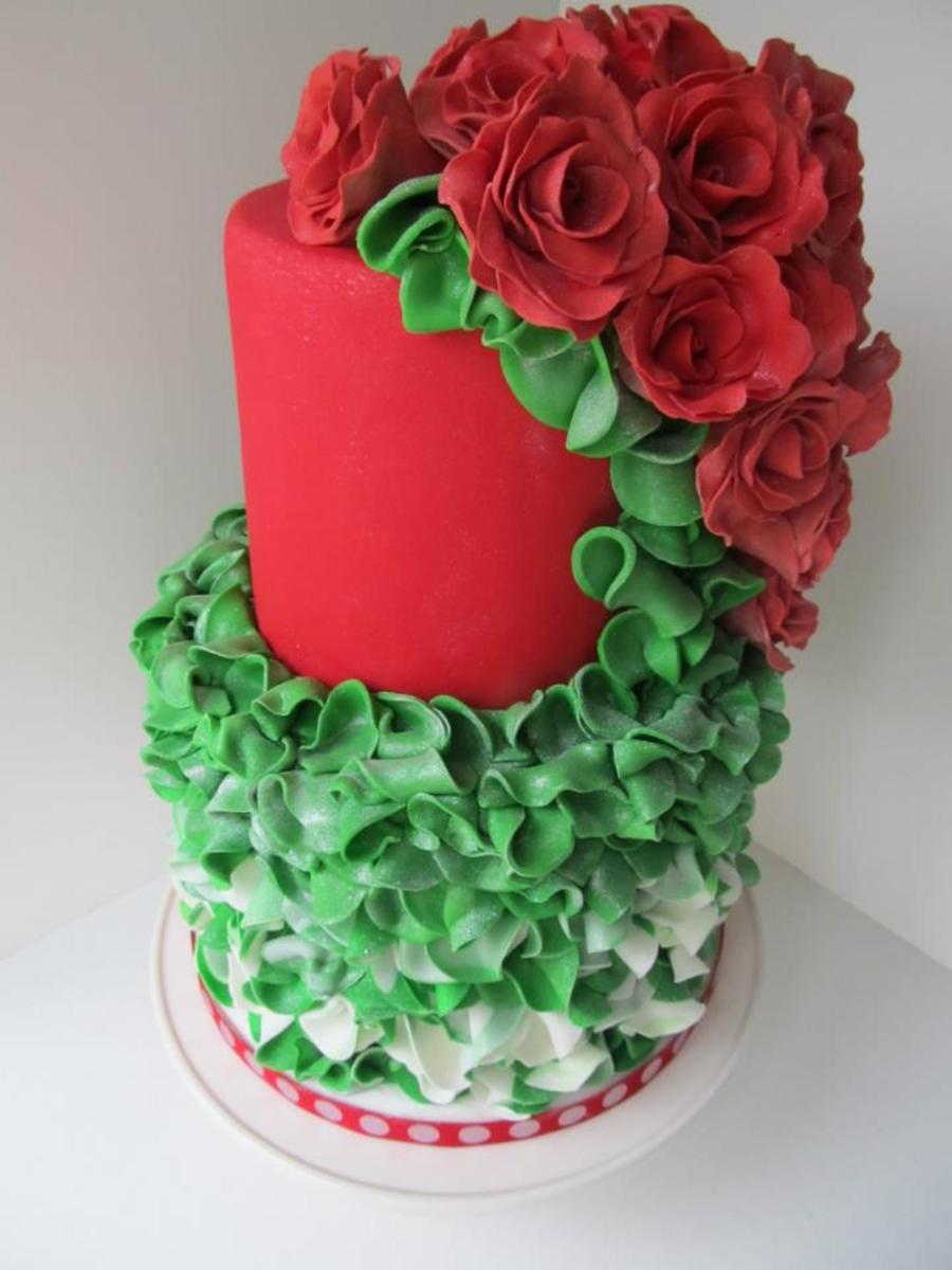Couture Red Rose Faux Christmas Cake - CakeCentral.com