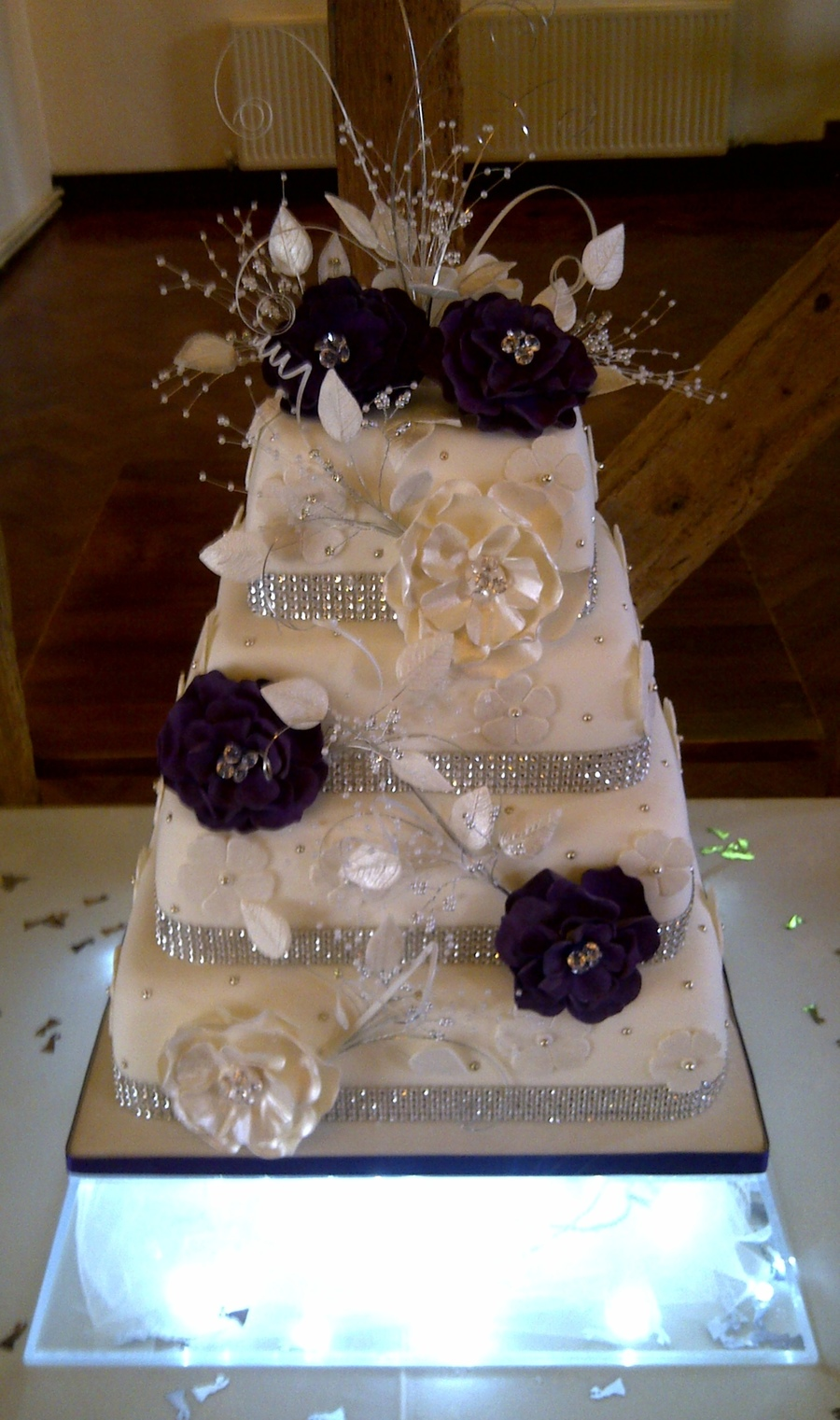 4 Tier Sponge Wedding Cake All Flowers And Decorations Are Handmade By Me on Cake Central