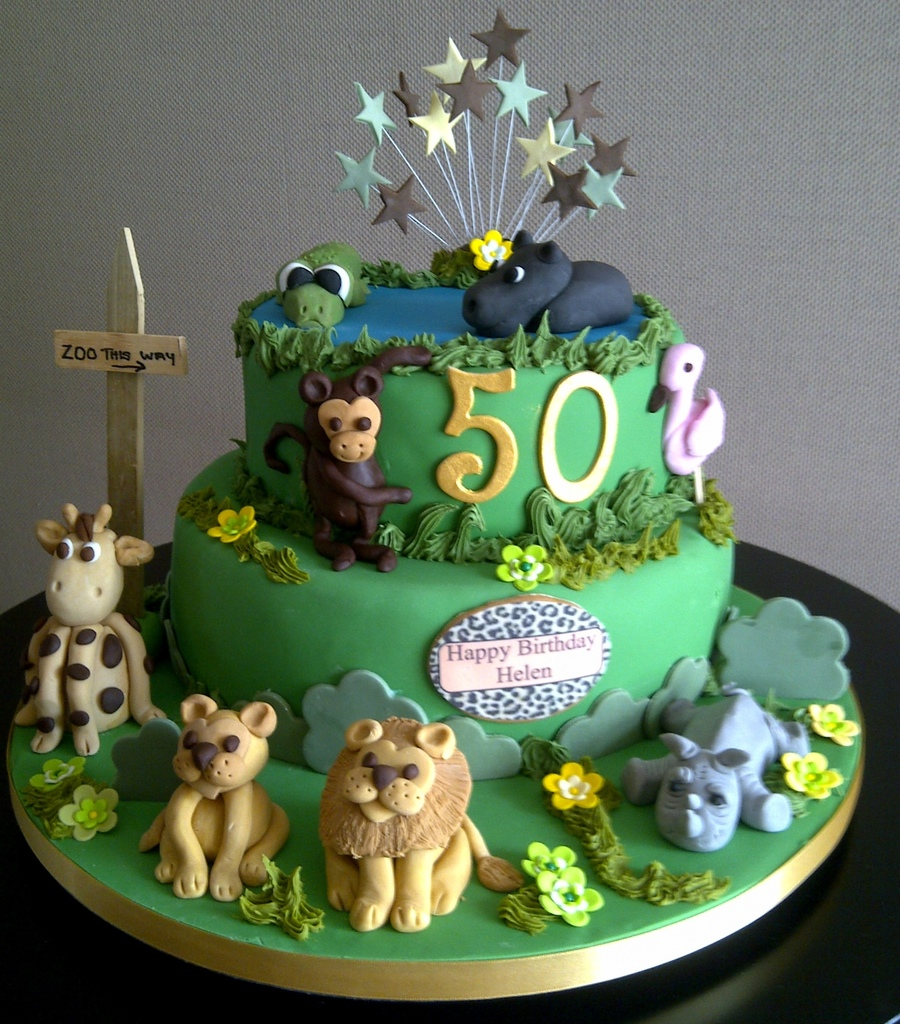 Zoo Themed 50Th Birthday Cake on Cake Central