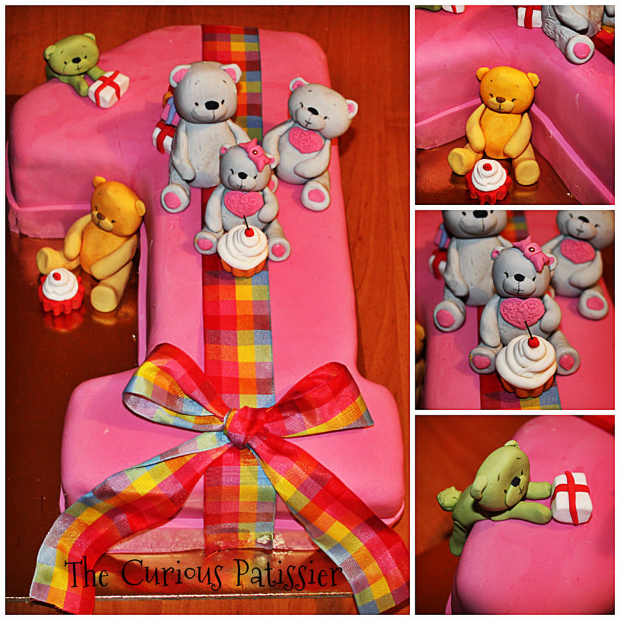 Number 1 Shaped Birthday Cake With Teddy Bears CakeCentralcom