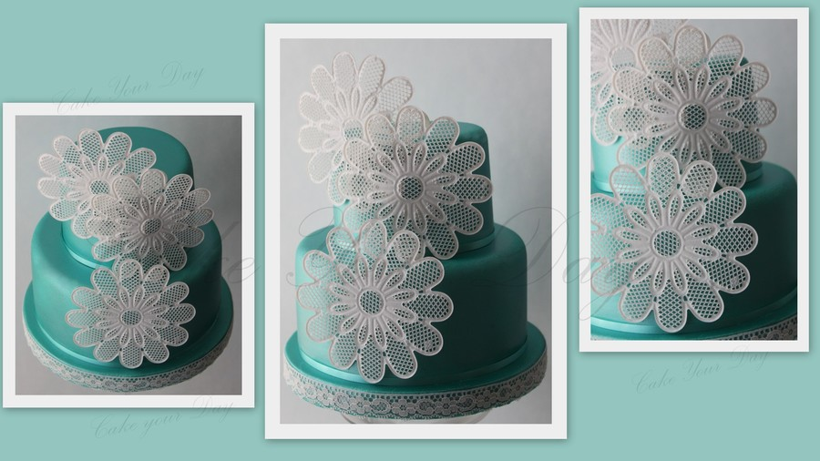 Turquoise Wedding Cake With Edible Lace Flowers