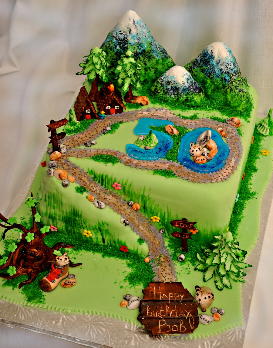 Hiking themed b day cake for B day decoration photos