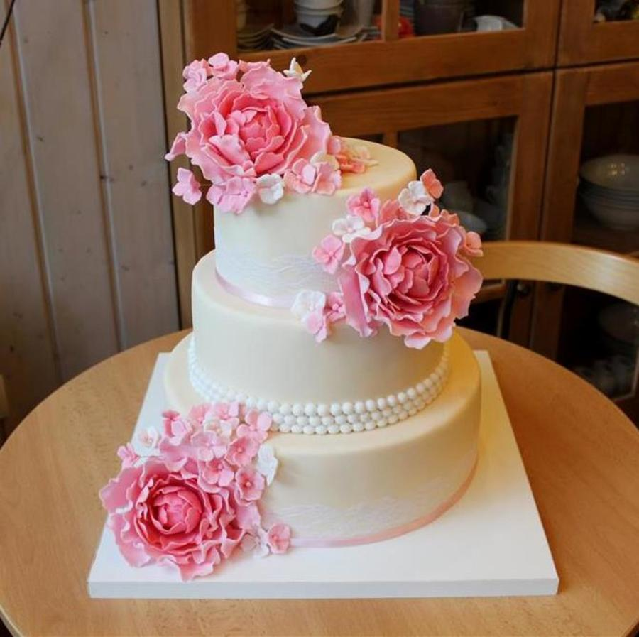 Peony Wedding Cake on Cake Central