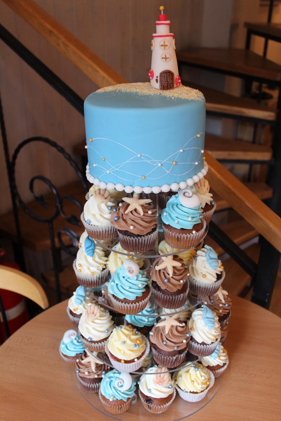 Beach Wedding Cupcake Tower Cake on Cake Central