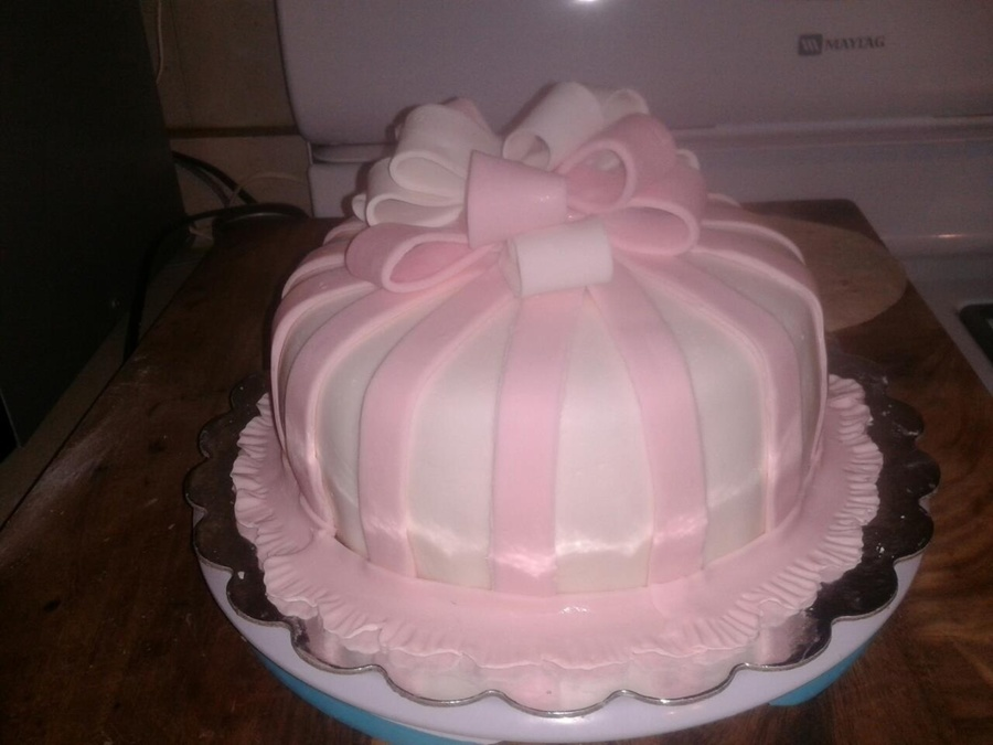 Pink And White Striped Fondant With Bow on Cake Central