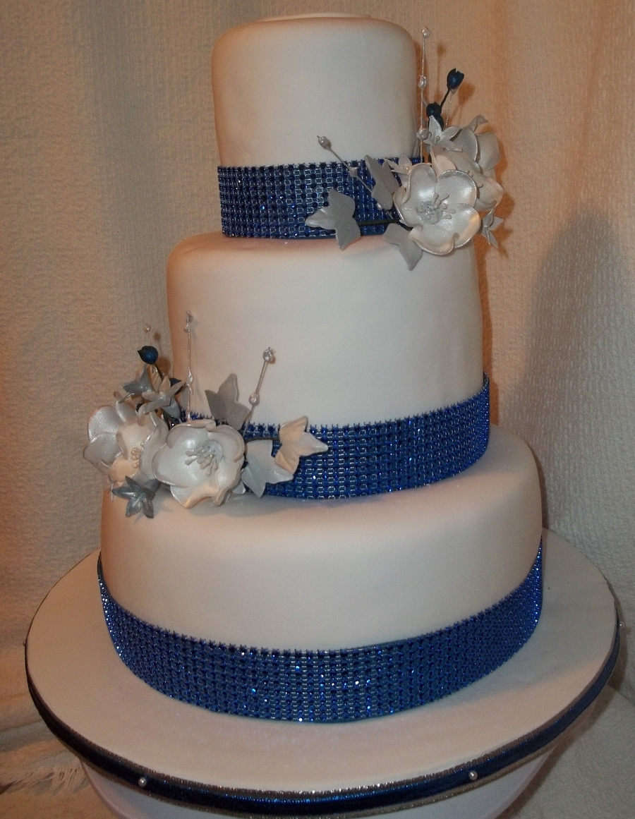 blue and silver wedding cakes blue and silver wedding cake cakecentral 11961