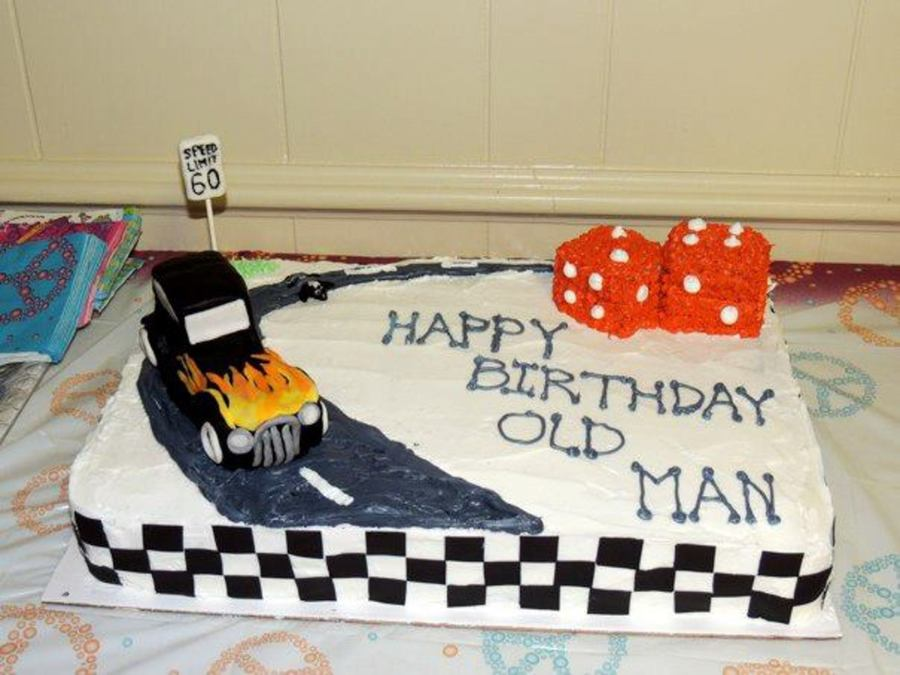 My Dad Loves Old Hot Rods So For His 60th Birthday I Made This Cake Him Fairly New At It Took Me Many Hours To Get The Finish
