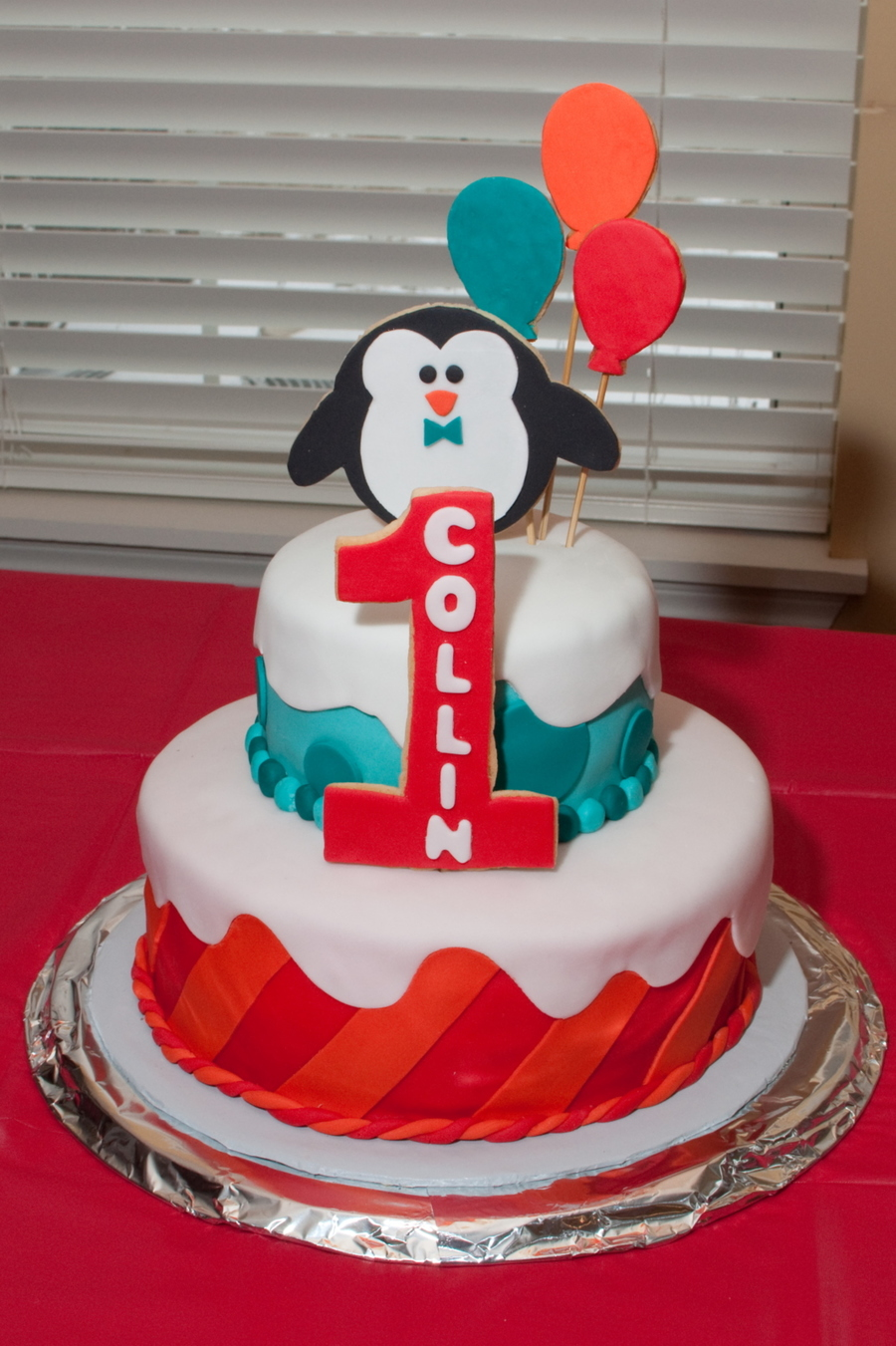 Excellent Penguin Birthday Cake With Marshmallow Fondant And Sugar Cookie Funny Birthday Cards Online Drosicarndamsfinfo